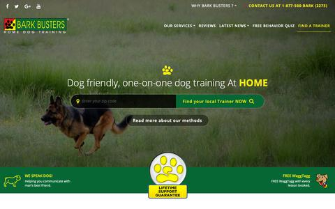 Screenshot of Home Page barkbusters.com - Home Dog Training Behavior & Obedience by Bark Busters - captured Oct. 5, 2018