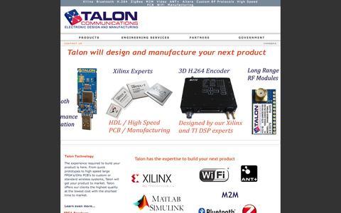 Screenshot of Home Page taloncom.com - Talon Communications® LOW POWER WIRELESS        Smart Energy  Medical & Consumer Electronics Product Development Defense - captured Oct. 7, 2014