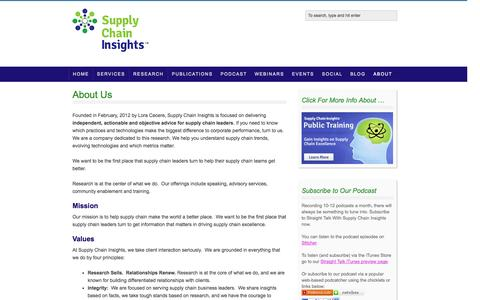Screenshot of About Page supplychaininsights.com - About Us — Supply Chain Insights - captured Oct. 1, 2014