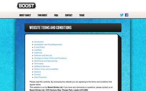 Screenshot of Terms Page boostdrinks.com - Boost - Energy Drink - captured Sept. 30, 2014