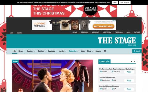 Screenshot of Home Page thestage.co.uk - Theatre news, reviews, interviews and jobs | The Stage - captured Dec. 3, 2016