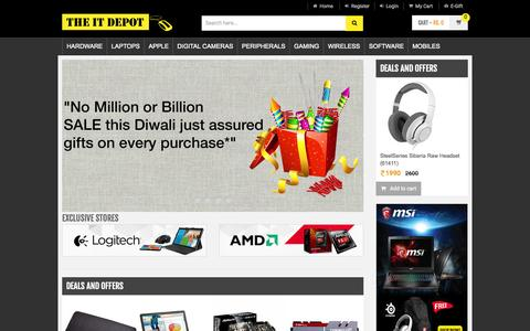 Screenshot of Home Page theitdepot.com - India's First IT Online Shopping Store - captured Oct. 20, 2015