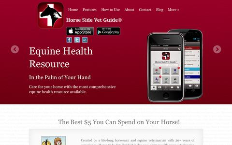 Screenshot of Home Page horsesidevetguide.com - Horse Side Vet Guide® | Equine Health in the Palm of Your Hand - captured Sept. 30, 2014