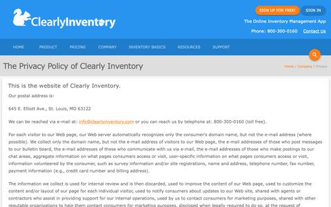 Screenshot of Privacy Page clearlyinventory.com - Privacy Policy - Clearly Inventory - captured Nov. 4, 2018