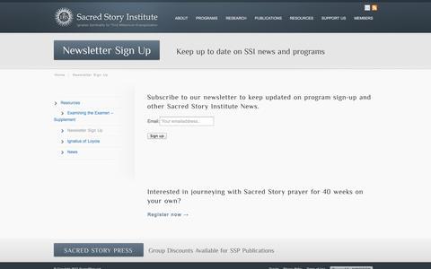 Screenshot of Signup Page sacredstory.net - Sacred Story Newsletter Sign Up - captured Oct. 4, 2014