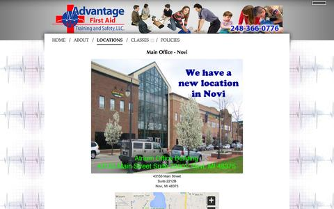 Screenshot of Locations Page advantagefirstaid.com - LOCATIONS - ADVANTAGE FIRST AID - CPR, BLS, AED, SAFETY TRAINING COURSES, HEARTSAVER FIRST AID, BABYSITTER AND MORE - MICHIGAN - captured Feb. 5, 2016