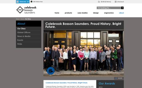 Screenshot of About Page colebrookbossonsaunders.com - Our Story - Colebrook Bosson Saunders   CBS Global - captured Sept. 30, 2014