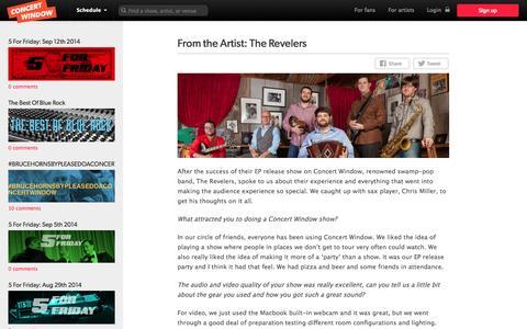 Screenshot of Blog concertwindow.com - From the Artist: The Revelers | Concert Window - captured Sept. 13, 2014