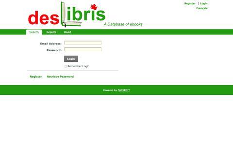 Screenshot of Login Page deslibris.ca - User Log In - captured Sept. 19, 2014