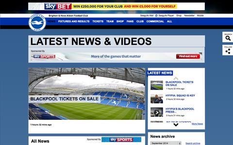 Screenshot of Press Page seagulls.co.uk - LATEST NEWS & VIDEOS - captured Sept. 22, 2014