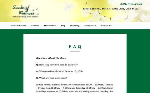 Screenshot of FAQ Page seedsofwellnessllc.com - F.A.Q - Seeds of Wellness, LLC - captured Dec. 8, 2018
