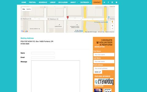 Screenshot of Contact Page pdxpopnow.com - CONTACT | PDX POP NOW! 2015 | JULY 24-26th 2015 - captured Dec. 5, 2015