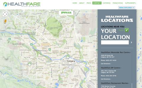 Screenshot of Contact Page healthfare.ca - HealthFare Restaurant | Healthy Fresh Quick Serve Diet Meals in Edmonton - captured Nov. 1, 2014