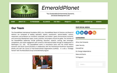 Screenshot of Team Page emerald-planet.org - Our Team | The EmeraldPlanet - captured Sept. 28, 2018