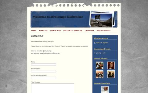 Screenshot of Contact Page webs.com - Contact Us - Welcome to afrolounge kitchen bar - captured Sept. 13, 2014