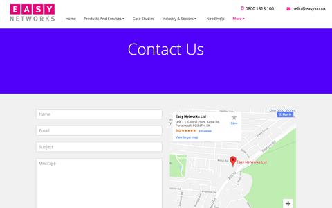 Screenshot of Contact Page easy.co.uk - Easy Networks | Contact Us | - captured Sept. 26, 2018
