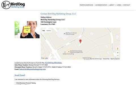 Screenshot of Contact Page birddogmarketinggroup.com - Contact Bird Dog Marketing Group, LLC - captured Nov. 22, 2016