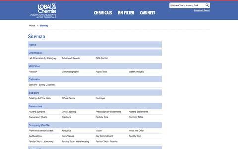 Screenshot of Site Map Page lobachemie.com - Loba Chemie: Laboratory Chemicals, Laboratory Reagents, Organic Reagents, Lab         Chemicals, Lab Reagents, Diagnostics Reagents, pH Indicators, Narrow Range pH Indicators,         Wide Range pH Indicators, pH Indicator Papers, pH Indicator Papers - captured Sept. 23, 2014