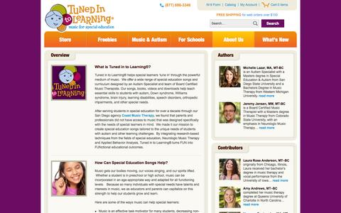 Screenshot of About Page tunedintolearning.com - Special Education Songs - Tuned in to Learning - captured Oct. 7, 2014