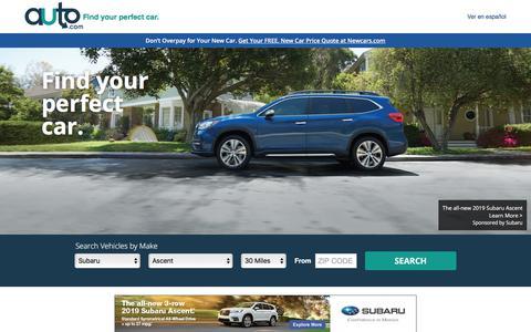 Screenshot of Home Page auto.com - Used Cars and New Cars | Auto.com - captured Sept. 21, 2018