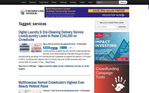Screenshot of Services Page crowdfundinsider.com - services Archives - Crowdfund Insider - captured May 6, 2017