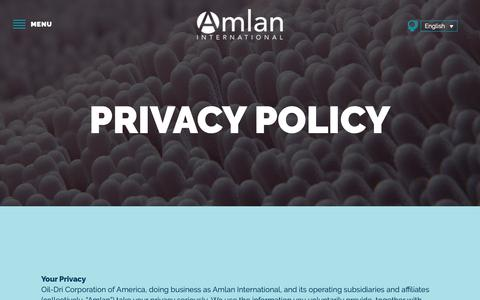 Screenshot of Privacy Page amlan.com - Privacy Policy - Amlan International - captured Dec. 18, 2018