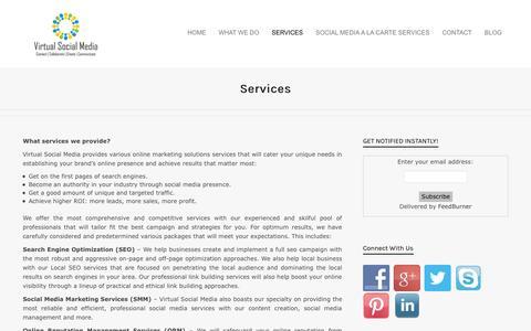 Screenshot of Services Page virtualsocialmedia.com - Social Media Marketing |SMM| SMO Package| - captured Sept. 23, 2014