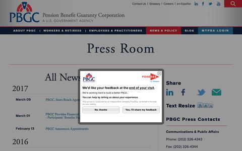 Screenshot of Press Page pbgc.gov - Press Room | Pension Benefit Guaranty Corporation - captured June 30, 2017