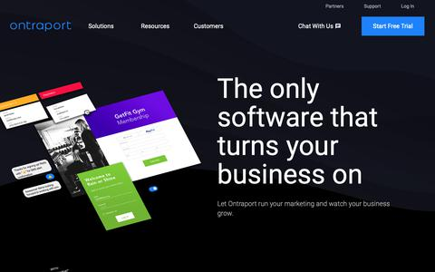Screenshot of Home Page ontraport.com - Ontraport | the Only Software That Turns Your Business On - captured March 14, 2019