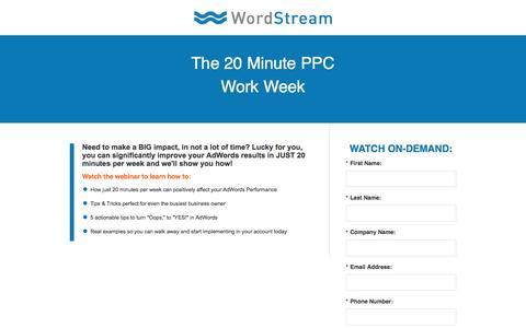 Screenshot of Landing Page wordstream.com - The 20 Minute PPC Work Week - captured Aug. 25, 2016