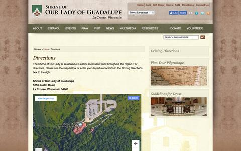 Screenshot of Maps & Directions Page guadalupeshrine.org - Directions : Shrine of Our Lady of Guadalupe - captured Oct. 18, 2018