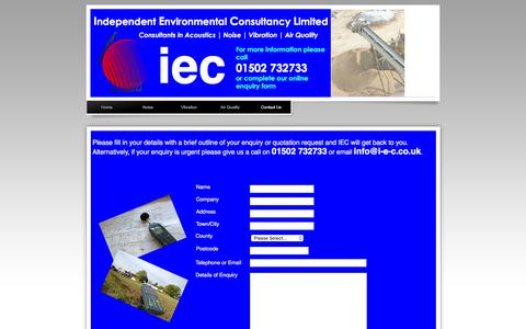 Screenshot of Contact Page i-e-c.co.uk - Contact Us | Independent Environmental Consultancy Limited | Approved Noise,Vibration & Air Quality Consultants | Call 01502 732733 - captured Feb. 10, 2016