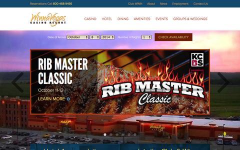 Screenshot of Home Page winnavegas.com - WinnaVegas Casino & Resort - captured Oct. 9, 2014