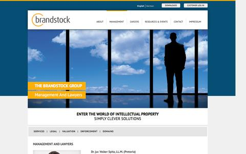Screenshot of Team Page brandstock.com - Intellectual Property services lawyers and management - captured Oct. 27, 2014