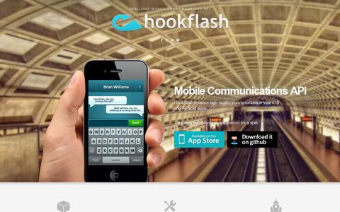 Screenshot of Home Page hookflash.com - Hookflash - Real-time Mobile Communications API - captured July 11, 2014