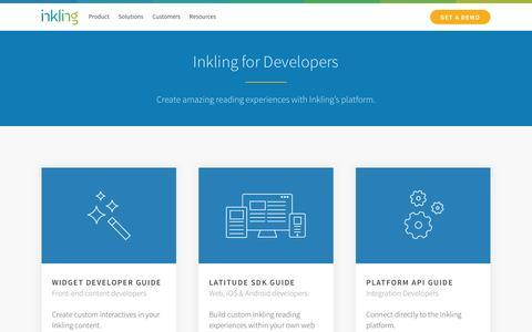 Screenshot of Developers Page inkling.com - Developers - Inkling - captured Jan. 20, 2016