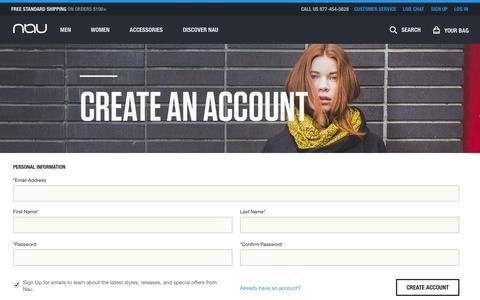 Screenshot of Signup Page nau.com - Create New Customer Account | Nau Clothing - captured Nov. 3, 2014