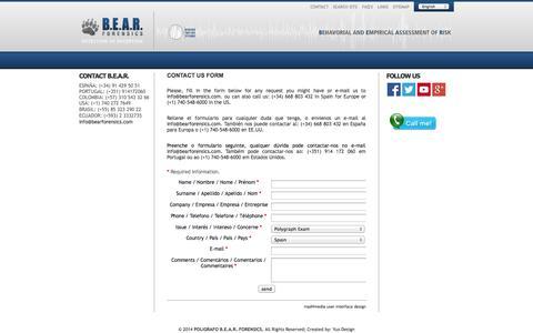 Screenshot of Contact Page bearforensics.com - CONTACT US FORM | POLIGRAFO B.E.A.R. FORENSICS - captured Sept. 30, 2014