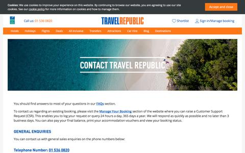 Screenshot of Contact Page travelrepublic.ie - Contact Travel Republic - captured June 26, 2017