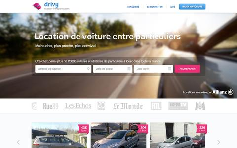 Screenshot of Home Page Signup Page Login Page drivy.com - Location Voiture Particulier - Drivy - captured Sept. 15, 2014