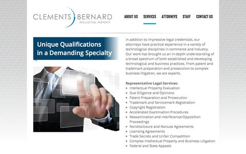 Screenshot of Services Page worldpatents.com - Services | Clements Bernard - captured Oct. 2, 2014
