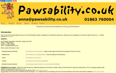 Screenshot of Terms Page pawsability.co.uk - Pawsability Terms and Conditions and Privacy Statements - captured Nov. 4, 2018