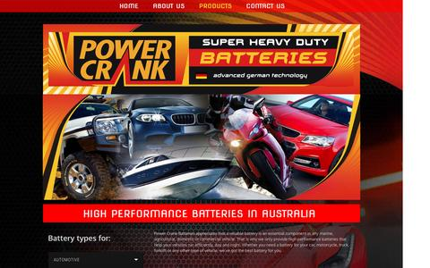 Screenshot of Products Page powercrank.com.au - Batteries | Coburg | Power Crank Batteries - captured Jan. 23, 2016