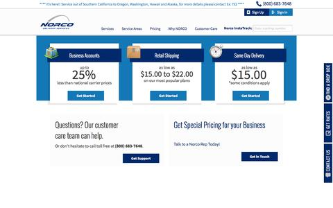 Screenshot of Signup Page Pricing Page norcodelivery.com - Shipping, Courier, Messenger, and Mail Delivery in California, Nevada, and Arizona - captured Oct. 25, 2014