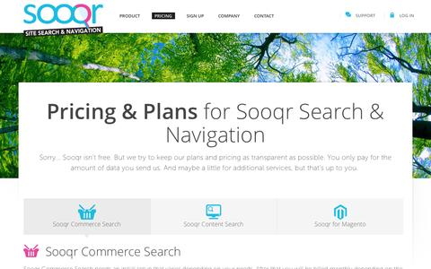 Screenshot of Pricing Page sooqr.com - Pricing for Commerce Search by Sooqr - captured Sept. 24, 2014