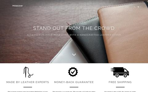 Screenshot of Home Page molecover.com - Leather Moleskine® Covers by Molecover - captured Feb. 28, 2016