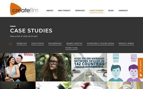 Screenshot of Case Studies Page createfilmproductions.co.uk - Case Studies - Create Film - captured Feb. 1, 2016