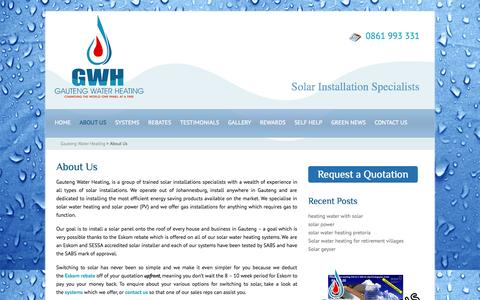 Screenshot of About Page gwhsolar.co.za - About Us | Gauteng Water Heating | South Africa - captured Oct. 2, 2014