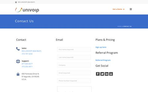 Screenshot of Contact Page univoip.com - Contact Us – Enterprise Cloud Communication Solutions - captured Sept. 28, 2018