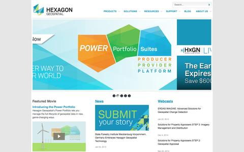 Screenshot of Home Page hexagongeospatial.com - Hexagon Geospatial Home - captured Jan. 28, 2015